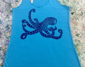 Women's Racer Back Tank Top, Aqua, with Purple He'e (Octopus) Block Print