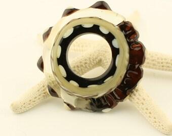 Lampwork Glass Bead, Large Disk Ring, Organic Black, Beige, Ivory, Brown,  Beads, SRA