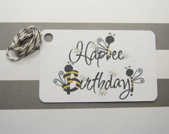 Happy Birthday Tags, Thank You Tags, Party Favor Tags, Gift Tags, Set of 8, Bees (T14)