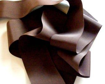 Vintage 1930's-40's Petersham Grosgrain Ribbon -Milliners Stock- 2 inch Chocolate Brown