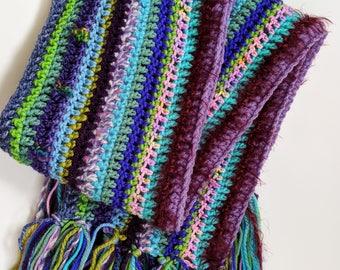 Cool Colors Crochet Scarf
