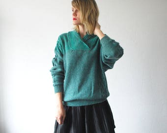 SALE...80s cable knit sweater. teal wool sweater. shawl neck sweater. unisex - medium, large