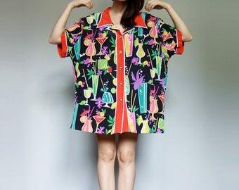 Oversized Shirt Vintage Hawaiian Shirt Button Up Shirt Novelty Print Top Tropical Shirt 80s Colorful Silk Shirt Bob Mackie