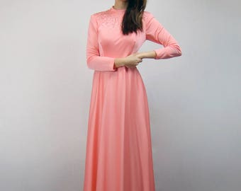 1970s Party Dress Rhinestone Beaded Gown Vintage 70s Boho Hippie Coral Long Sleeve Maxi Dress - Small S