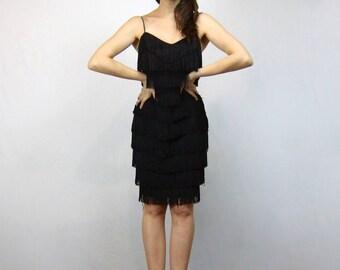 Black Cocktail Dress 80s Tassel Dress Fringe Party Mini Dress - Small S
