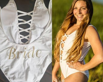 White BRIDE Glitter one piece bathing suit, swimsuit, Honeymoon/wedding gift, lingerie, bridal shower, bride. The godfather, sparkly