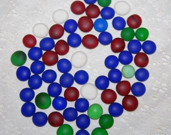 Faux sea glass 65 frosted flat marbles, blue, green, red