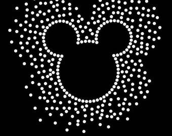"""SALE Choice of 6.3"""" Mickey Mouse iron on scatter rhinestone transfer bling applique patch"""