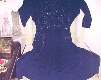 Vintage 40s Dress by DALTON Navy Sequins BAT Wing Sleeves FAB Front Pockets Good Wear