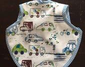 Baby bib, bib, boy bib, girl bib, bapron, tie bib, transportation bib, cars bib, waterproof bib, tie bib, terry bib, baby, 6-18 months