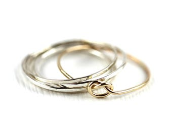 Set of 5 - Knot Ring Stacking Set - Ultra Skinny, Gold knot ring , tread thin ring, super delecite ring, knot ring, love knot