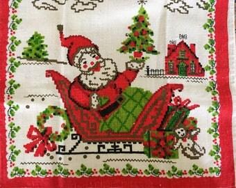 Santa in Sled: Jolly Vintage Linen Tea Towel, R-1