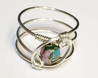 Cloisonné Ring   Cloisonné Jewelry  Sterling Silver Ring for Women  Enamel Ring