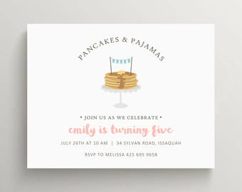 pancake birthday invitation set  // baby shower invitation // thank you note // pancakes and pajamas // pjs // sleepover // breakfast