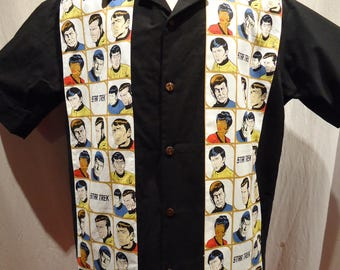 Classic (TOS) Star Trek Panel Shirt with Kirk, Bones and Spock, Made to Order in Men's Size Small up to 6X
