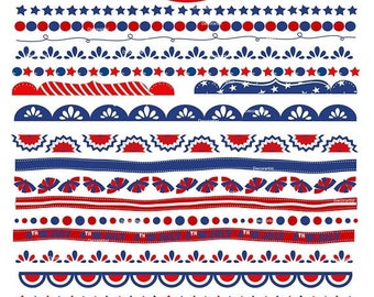 ON SALE Independence day border clipart., 4th of July day banner clipart, Patriotic border clipart, red blue border clip art, small commerc