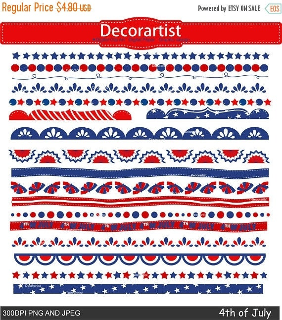 ON SALE Independence day border clipart. 4th of July day