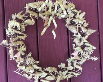 """Large 16"""" brass wreath of holidays"""