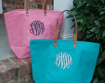 Personalized Monogrammed Large Jute Tote Bag with Leather Handles - Monogram Jute Bag - Lots of Colors! Bridesmaid or Wedding Party Gift