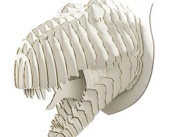 Rex Cardboard Dinosaur Head - Giant - White