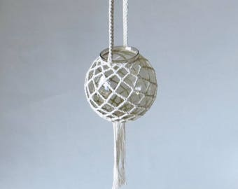 Smoke Colored Glass Hanging Globe Candle Holder - terrarium,  vase or votive lighting