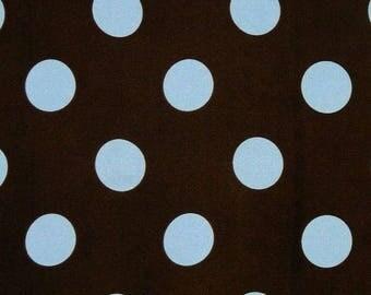 Charmeuse Satin Polka Dot Blue /Brown, Fabric By The Yard