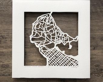 vancouver, victoria, prince george, calgary, edmonton or winnipeg 10x10 hand cut map