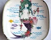 Vintage Bjorn Wiinblad Mermaid Dish - Scandinavian Enamelware Small Decorative Dish