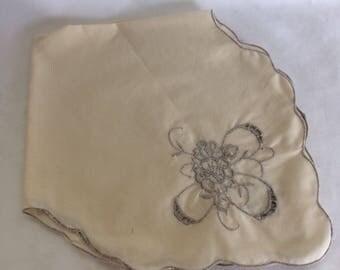 Vintage Hand Embroidered Bread Basket Liner