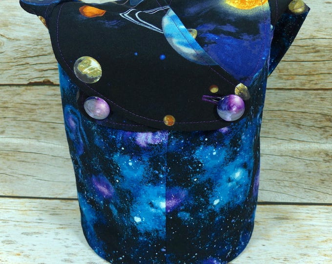 Where No One Has Gone Before -Small Llayover Knitting Tote/ Knitting, Spinning, Crochet Bag