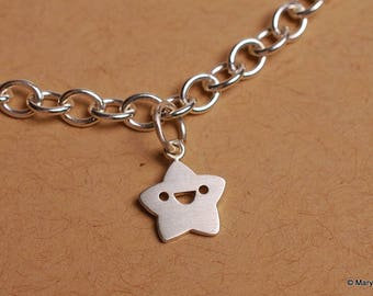 Tiny Star Charm Bracelet Sterling Silver