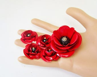Vintage Enamel or Painted FLOWER  Lot of 5  Bright Red Color Supplies Ready For Crafting Jewelry Bouquet Necklaces Earrings