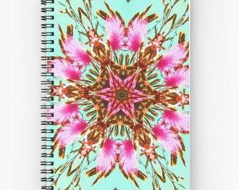 Turquoise mandala spiral notebook,abstract planner,floral journal,notepad,memo pad,writing pad,hardcover notebook,unique desk accessories