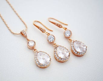 Lux Rose Gold Cubic Zirconia Bridal Jewelry Set, Will you be my Bridesmaid Jewelry set Dangle Earrings Bridal Necklace Bridesmaid gift