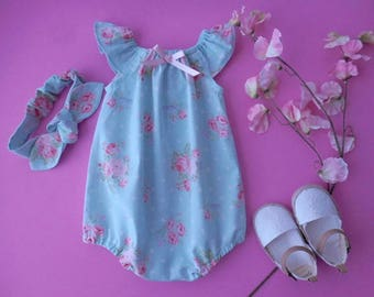 Sunsuit romper playsuit for babies and toddlers light blue with pink rose with matching top knot headband