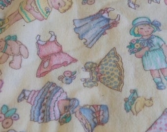 Vintage Paper Doll Fabric - Patty's Paper Doll Allover by Daisy Kingdom - Flannel Fabric