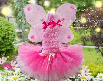 Light Hot Pink Gold Tutu Outfit, Layered, butterfly wings, pearls, ruffle petti top, flamingo first birthday outfit dress baby girl costume