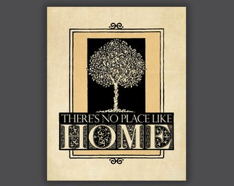 No Place Like Home, home wall art, foyer art, new home, housewarming, tree art, black and cream, home decor, home print, wizard of oz quote