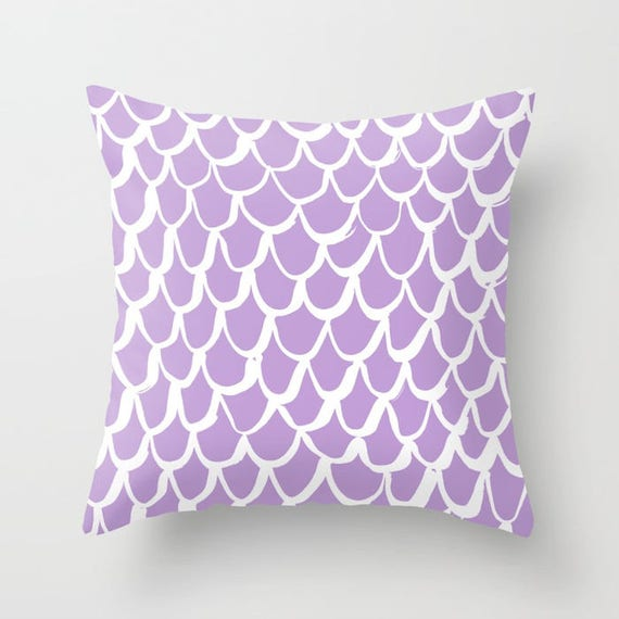 OUTDOOR Throw Pillow . Mermaid Outdoor Pillow . Lavender patio cushion . 16 18 20 inch . Mermaid Outside Pillow . Lilac Lumbar Pillow