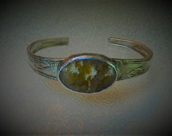 Plume Agate Cabochon and Vintage Sterling Silver Plate Silverware Cuff Bracelet, CB4