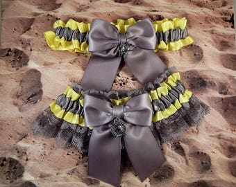 Firefighter Bright Yellow Gray Satin Gray Lace Maltese Fire Axe Charm Wedding Bridal Garter Toss Set
