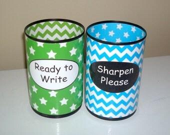 Lime and Turquoise Stars and Chevron Pencil Holder Set, Desk Accessories, Classroom Organization, Teacher Supplies, Teacher Gift - 1050