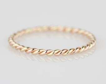 1.5mm Twisted Metals - Select Two Golds - Mira Wedding Band - Twist Rope 14k Gold Band Ring - Solid 14k White or Green or Rose or Yellow