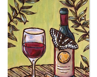 Print - Wine and Butterfly Wood Burning & Painting