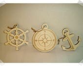 Wooden Nautical Ornaments- Set of 3  /Unfinished/Craft Supplies*RESERVED 7 Sets for marcey l