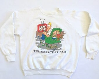 "90s basketball Dad sweatshirt white ""the greatest dad"" crewneck"