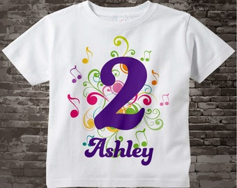 Music Themed Second Birthday Shirt, Number 2nd Onesie, Personalized Girls Birthday, Two Year Old Name Tee Infant Onesie for kids 04282014b