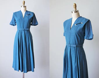 1940s Dress - 40s Vintage Dress - Cadet Blue Fleck Rayon Swingy Day Dress M - Astral Paths Dress