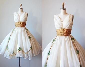 50s Dress - Vintage 1950s Dress - RARE Ivory Chiffon Golden Taffeta Party Prom Dress w 3D Flowers XS - Unicorn Territory Dress