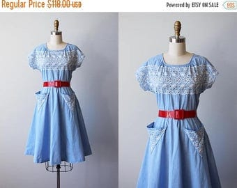 ON SALE 1940s Dress - Vintage 40s Dress - Blue Chambray Cotton w Eyelet Embroidery and V-shaped Pockets Dress M - Bell Tower Dress